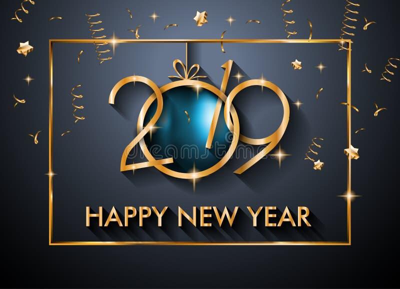 Fondo de la Feliz Año Nuevo 2019 para sus aviadores y Gree estacionales ilustración del vector