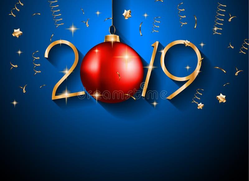 Fondo de la Feliz Año Nuevo 2019 para sus aviadores y Gree estacionales fotografía de archivo libre de regalías