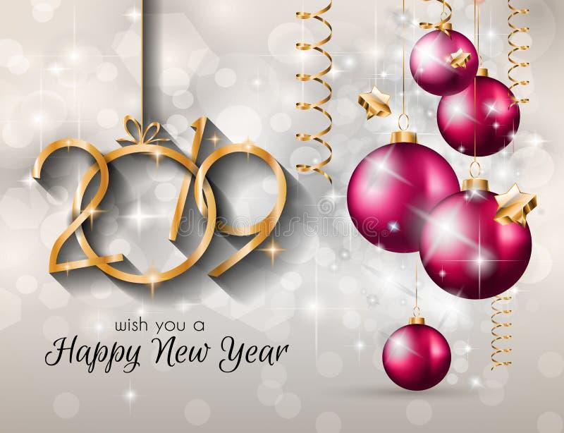 Fondo de la Feliz Año Nuevo 2019 para sus aviadores y Gree estacionales imagen de archivo libre de regalías