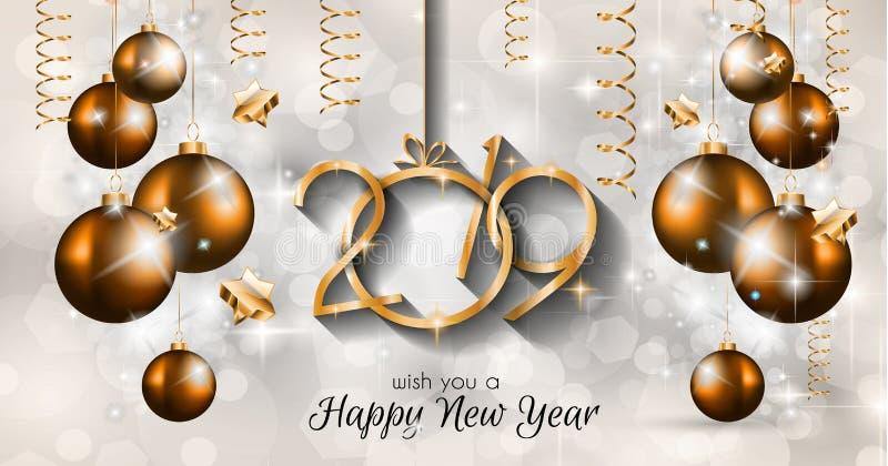 Fondo de la Feliz Año Nuevo 2019 para sus aviadores y Gree estacionales fotografía de archivo