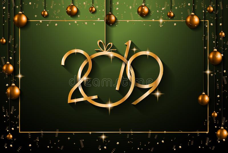 Fondo de la Feliz Año Nuevo 2019 para sus aviadores y Gree estacionales imagenes de archivo