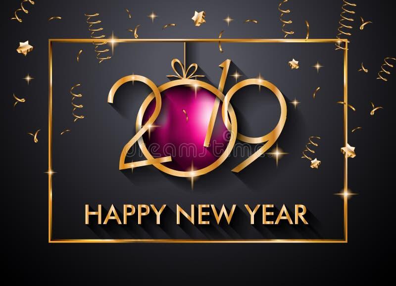 Fondo de la Feliz Año Nuevo 2019 para sus aviadores y Gree estacionales fotos de archivo