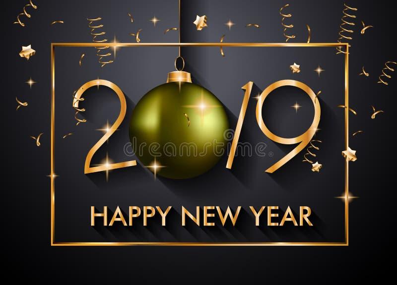 Fondo de la Feliz Año Nuevo 2019 para sus aviadores y Gree estacionales foto de archivo
