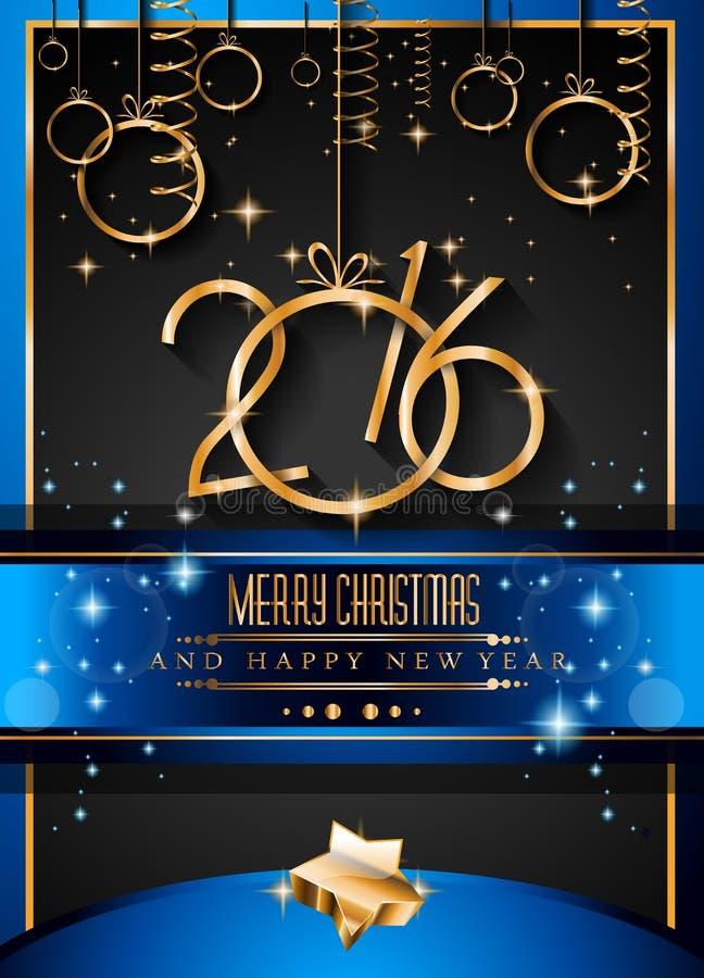 Fondo de la Feliz Año Nuevo 2016 para sus cenas de la Navidad libre illustration