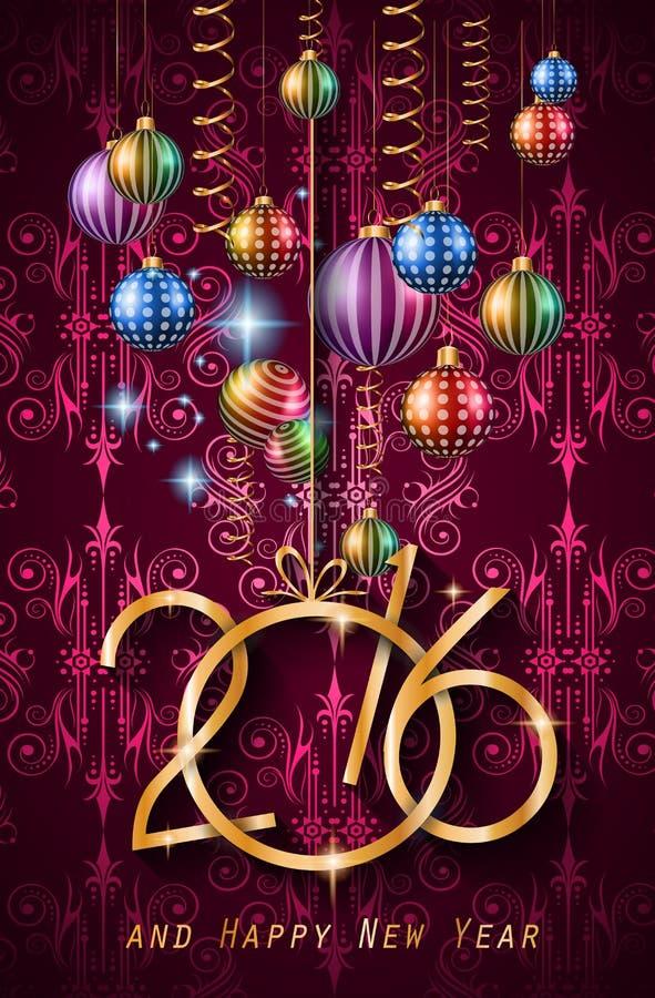 Fondo de la Feliz Año Nuevo 2016 para sus cenas de la Navidad stock de ilustración