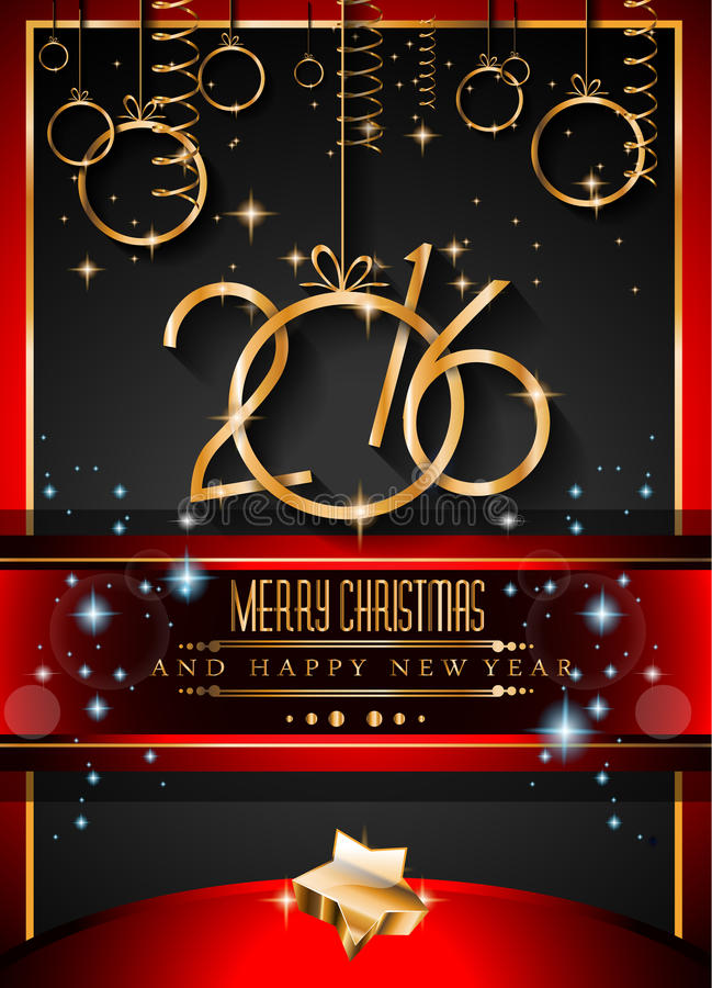 Fondo de la Feliz Año Nuevo 2016 para sus invitaciones de la Navidad stock de ilustración
