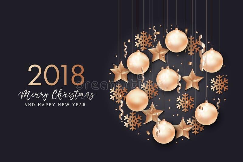 Fondo de la Feliz Año Nuevo y de la Feliz Navidad ilustración del vector