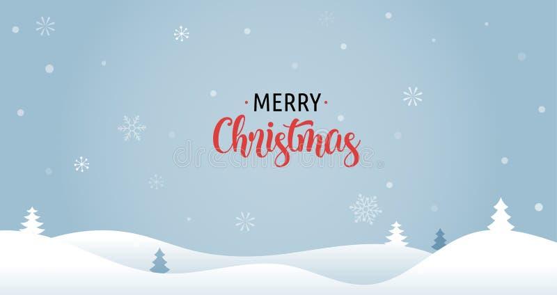 Fondo de la Feliz Navidad con los árboles de Navidad, la tarjeta de felicitación, el cartel y la bandera libre illustration