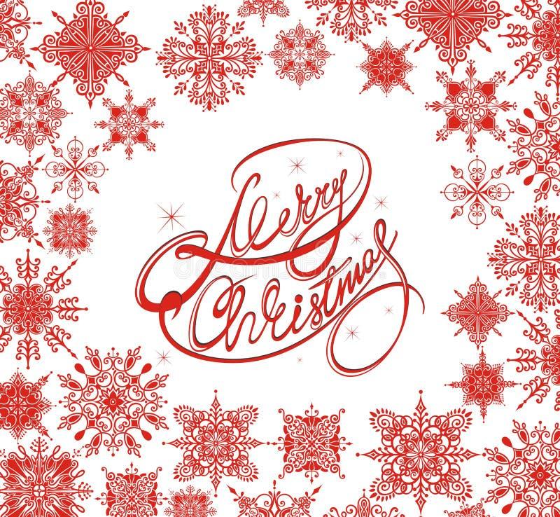 Fondo de la Feliz Navidad con los copos de nieve del invierno stock de ilustración