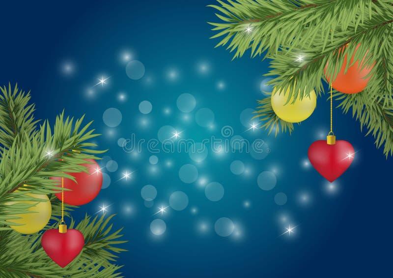 Fondo de la Feliz Navidad con los elementos de los días de fiesta stock de ilustración