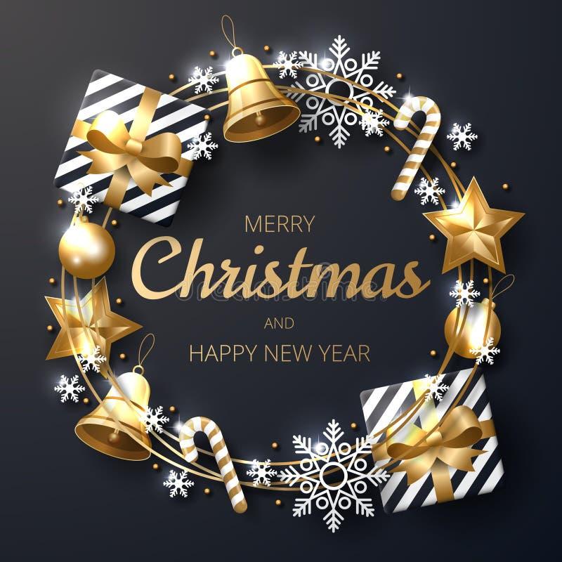 Fondo de la Feliz Navidad con oro brillante y ornamentos blancos stock de ilustración