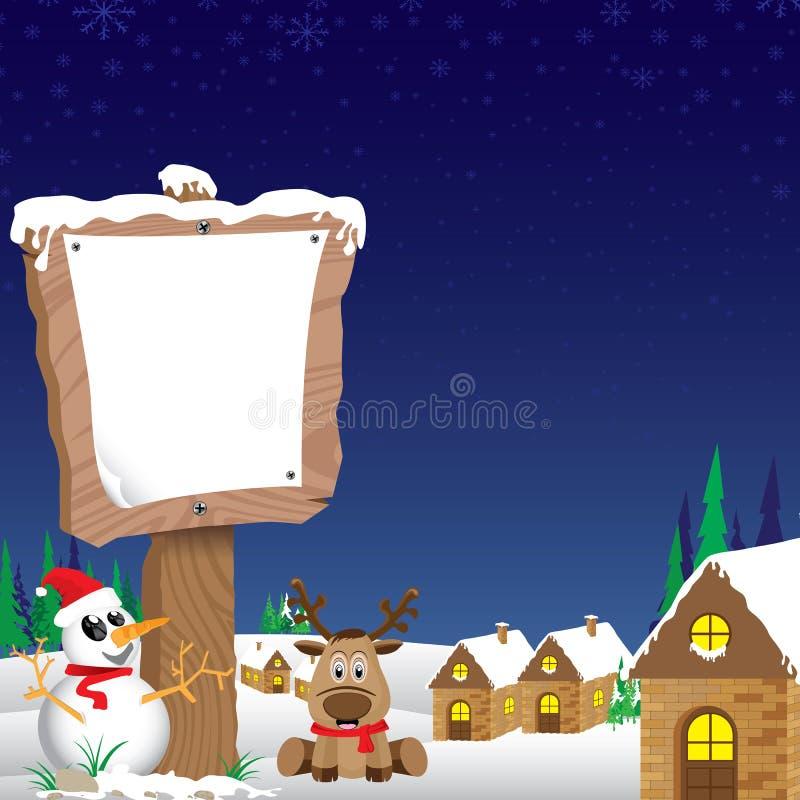 Fondo de la Feliz Navidad El muñeco de nieve y de madera firman adentro invierno en fondo azul del cielo nocturno ilustración del vector