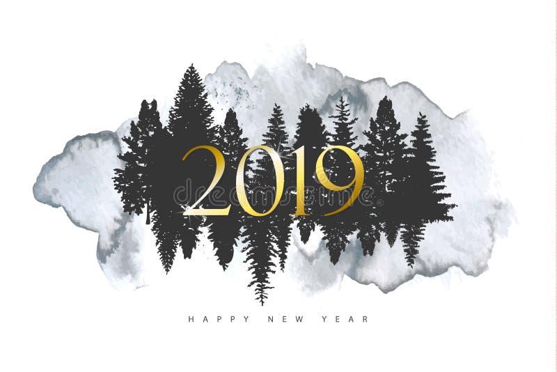 Fondo de la Feliz Navidad 2019 y de la Feliz Año Nuevo con textura de los árboles forestales y de la acuarela de las siluetas Eje ilustración del vector