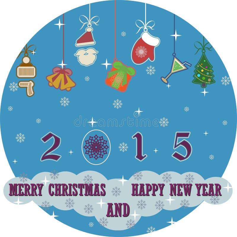 Fondo 2015 de la Feliz Navidad y de la Feliz Año Nuevo stock de ilustración