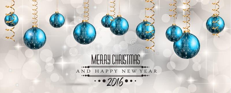 Fondo de la Feliz Navidad 2016 y de la Feliz Año Nuevo ilustración del vector