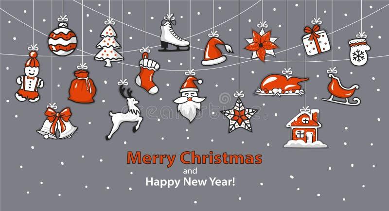 Fondo de la Feliz Navidad y de la Feliz Año Nuevo ilustración del vector