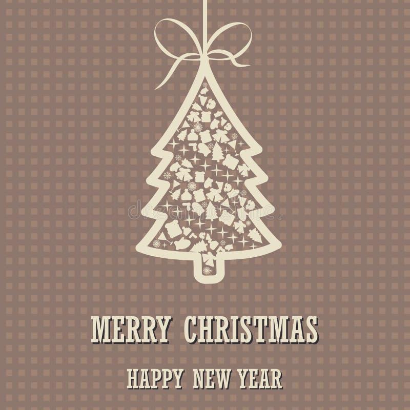 Fondo de la Feliz Navidad y de la Feliz Año Nuevo con el árbol de navidad stock de ilustración