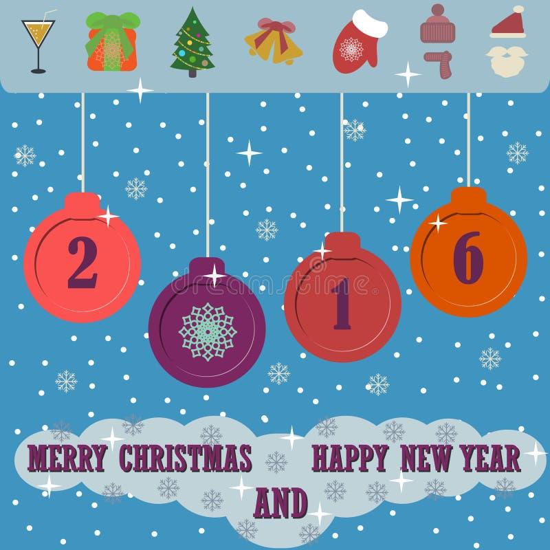Fondo de la Feliz Navidad y de la Feliz Año Nuevo con los iconos planos de la Navidad stock de ilustración