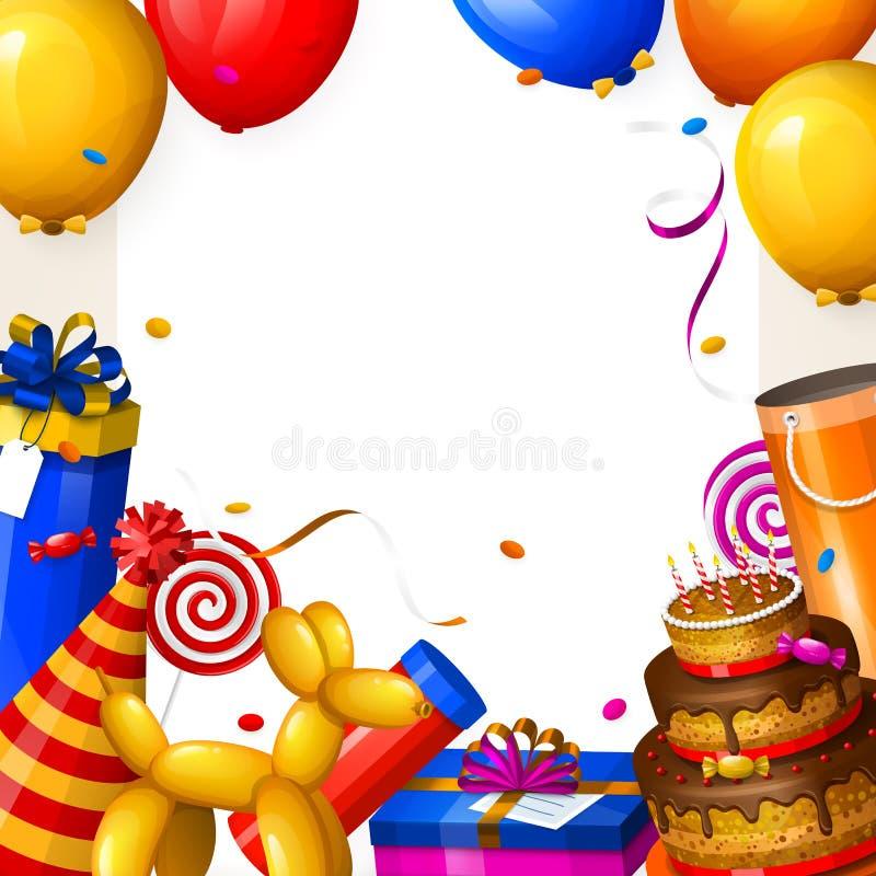 Fondo de la fiesta de cumpleaños con los globos, la torta, las cajas de regalo, la piruleta, el confeti y cintas Lugar para su te ilustración del vector