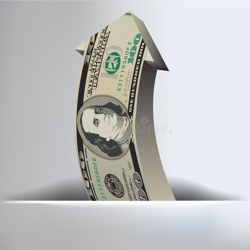 Fondo de la flecha de 100 dólares ilustración del vector