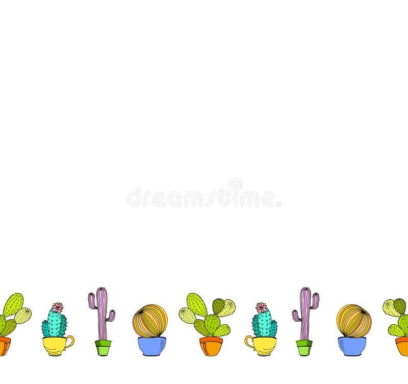 Fondo de la flor de los cactus del vector Frontera inconsútil con el cactus ilustración del vector