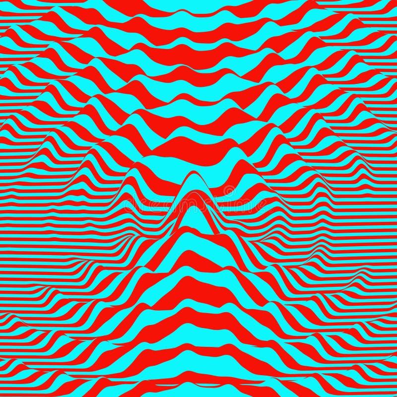 Fondo de la forma de onda Efecto visual dinámico Distorsión superficial Modelo con la ilusión óptica libre illustration