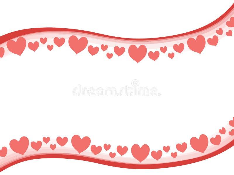 Fondo de la frontera de los corazones de la tarjeta del día de San Valentín de Swoosh stock de ilustración