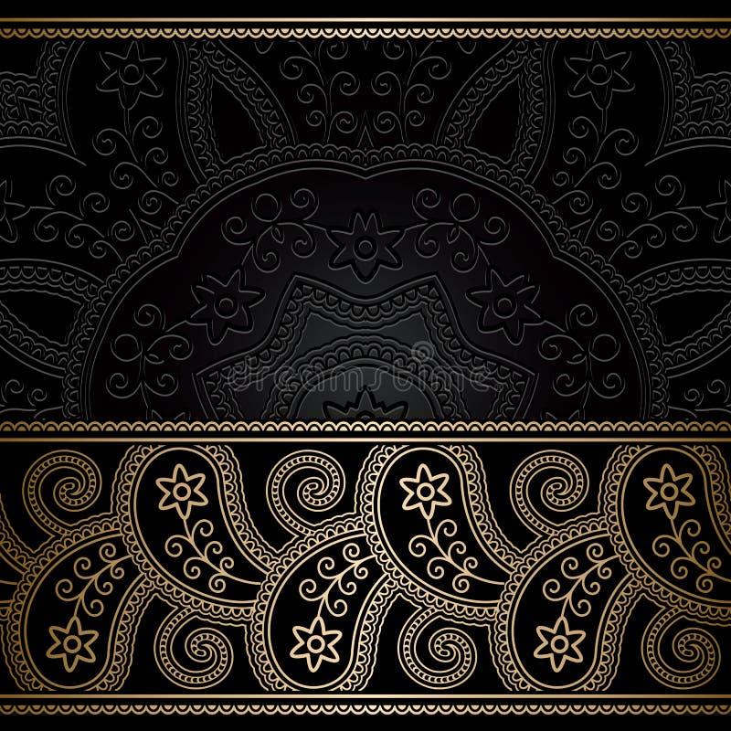 Fondo de la frontera del oro del vintage ilustración del vector