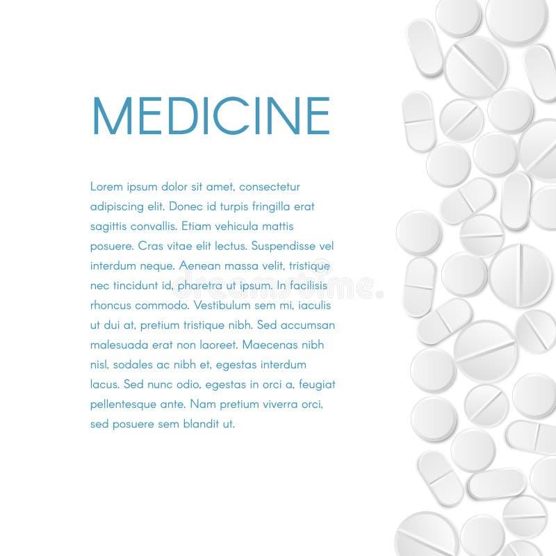 Fondo de la frontera de las píldoras de la medicina Las tabletas redondas blancas dispersadas de la bandera de la derecha y del t stock de ilustración