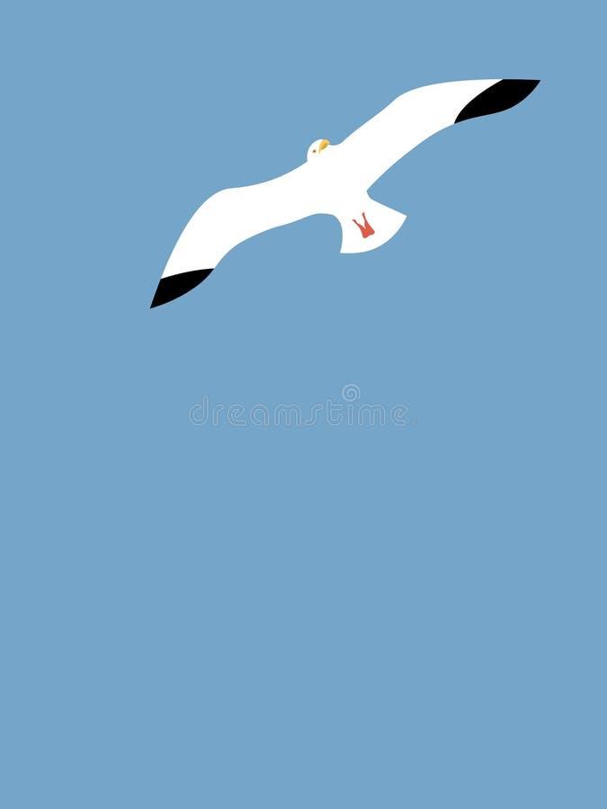 Fondo de la gaviota en un cielo azul stock de ilustración