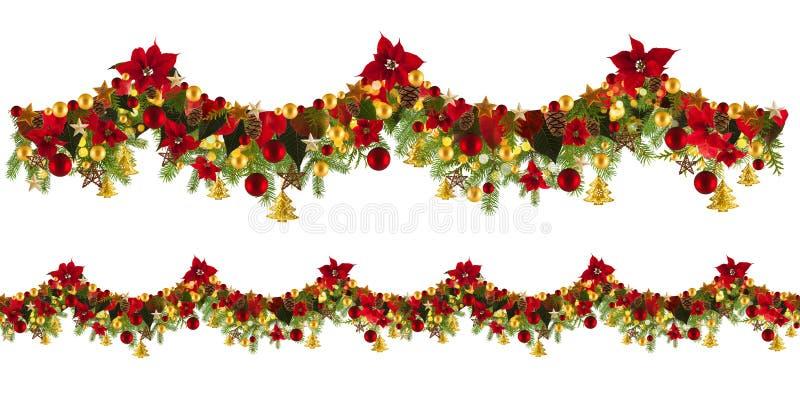 Fondo de la guirnalda de la Navidad con las estrellas y poinsetta de oro fotos de archivo