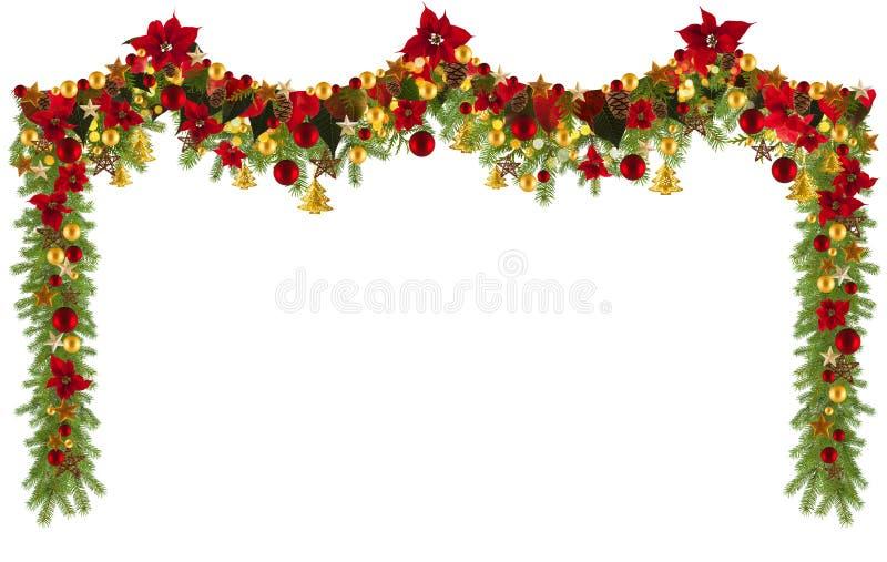 Fondo de la guirnalda de la Navidad con las estrellas y poinsetta de oro fotografía de archivo