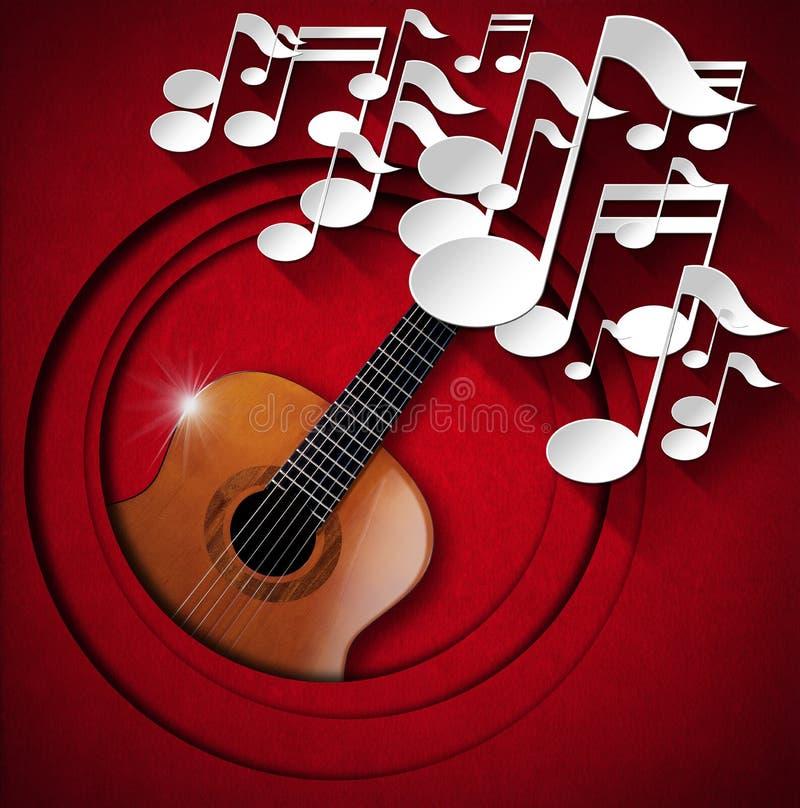 Fondo de la guitarra acústica y de la nota - terciopelo rojo stock de ilustración