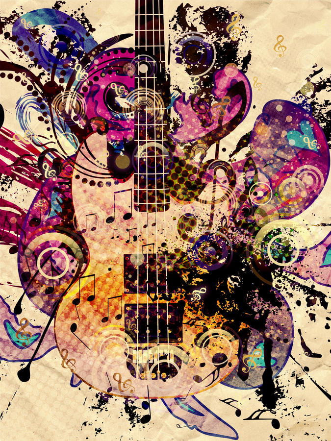 Fondo de la guitarra de la música del Grunge libre illustration
