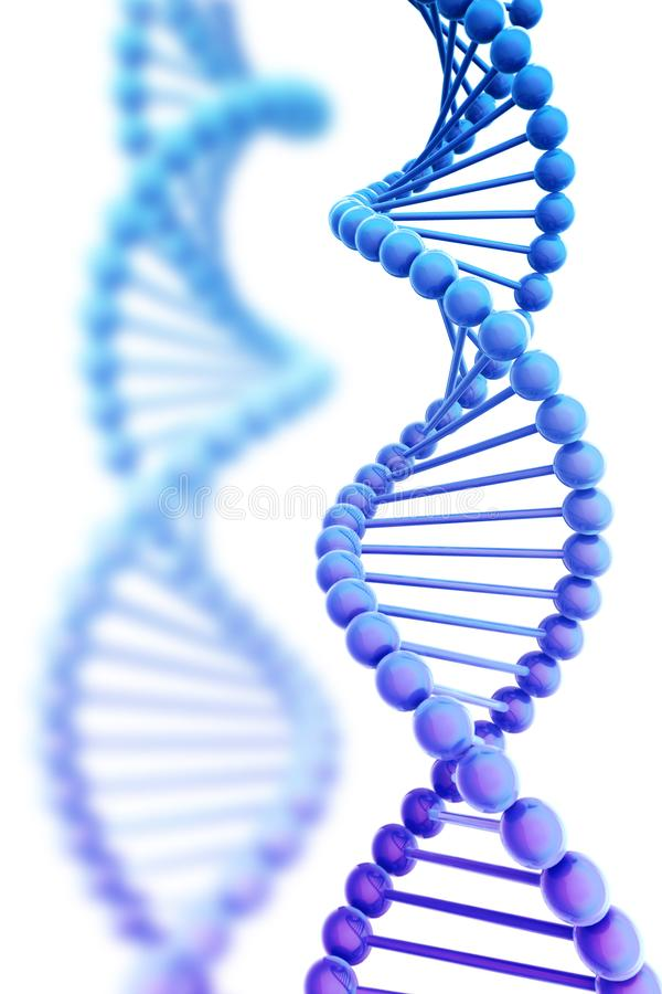 Fondo de la hélice de la DNA aislado en el ejemplo blanco 3D foto de archivo