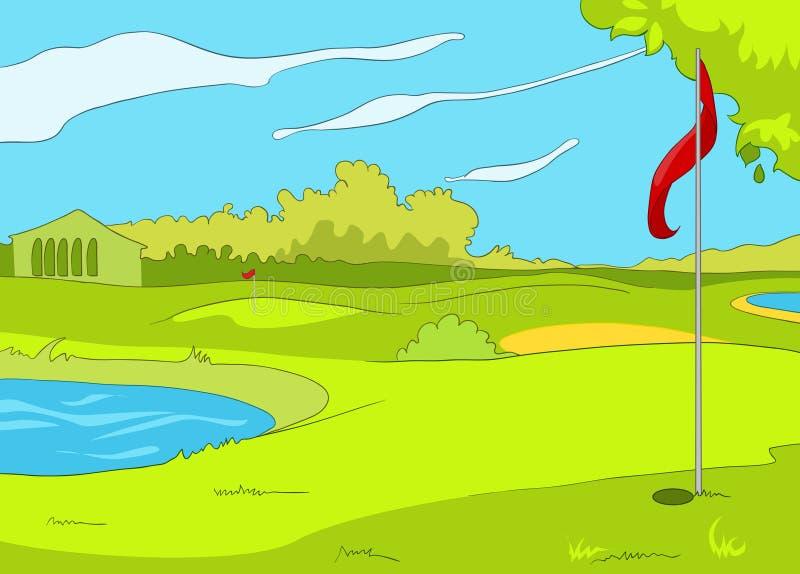 Fondo de la historieta del campo de golf libre illustration