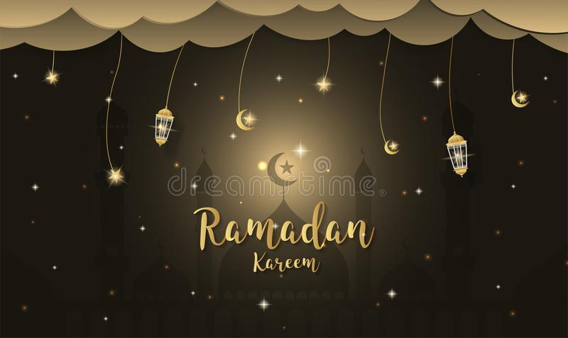 Fondo de la historieta del kareem del Ramadán Concepto de diseño del festival ilustración del vector