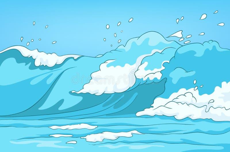 Fondo de la historieta del paisaje del mar stock de ilustración