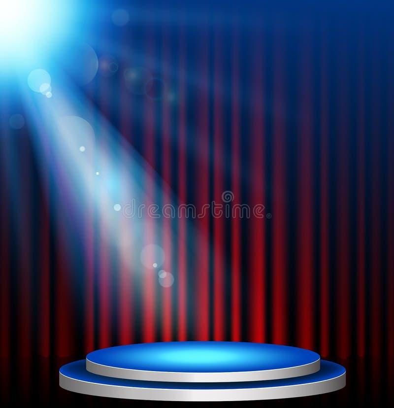 Fondo de la iluminación de la etapa con efectos del proyector stock de ilustración