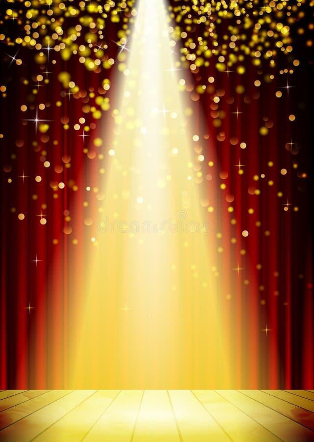 Fondo de la iluminación de la etapa con efectos luminosos del punto ilustración del vector