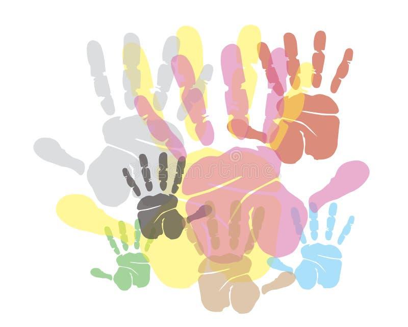 Fondo de la impresión de las manos stock de ilustración