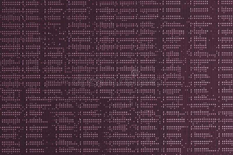 Fondo de la informática Ciérrese para arriba de placa de circuito impresa electrónica digital púrpura Lado de la soldadura Macro  imagen de archivo