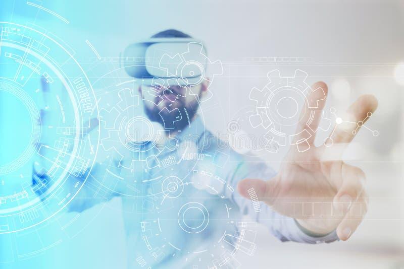 Fondo de la ingeniería con el proyecto de los engranajes en la pantalla virtual Innovación del negocio y concepto moderno de la t ilustración del vector