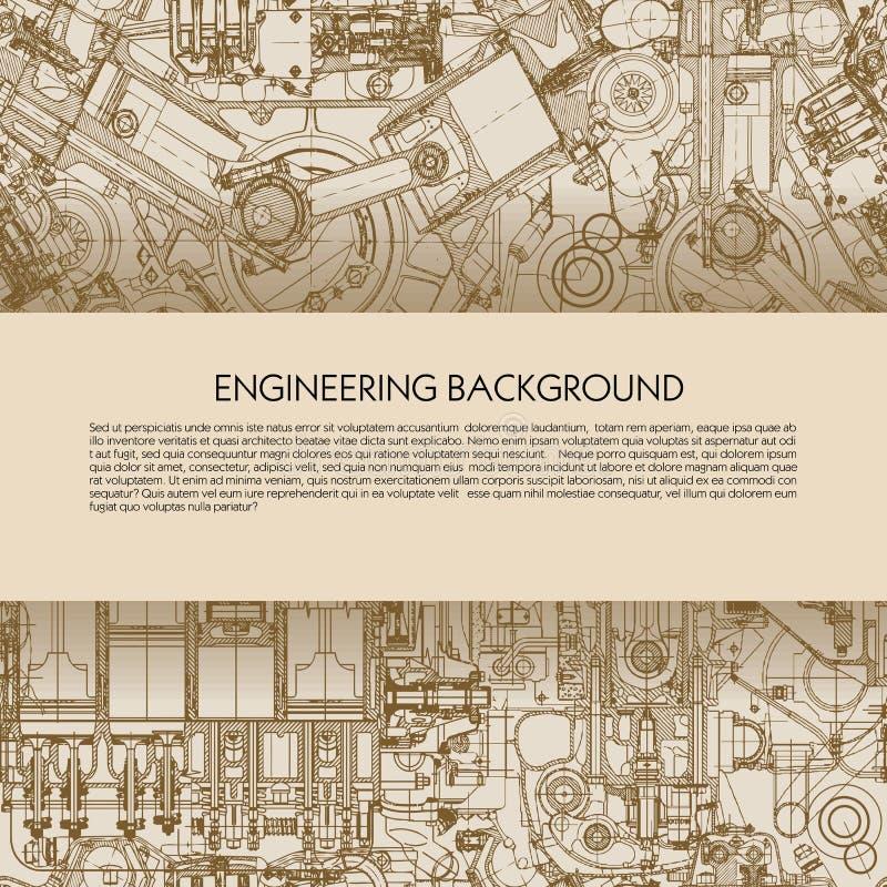 Fondo de la ingeniería de la plantilla con los dibujos de los motores de coche con el espacio para su texto ilustración del vector