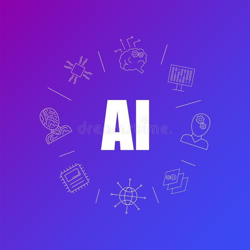 Fondo de la inteligencia artificial de la línea icono modelo linear del vector libre illustration