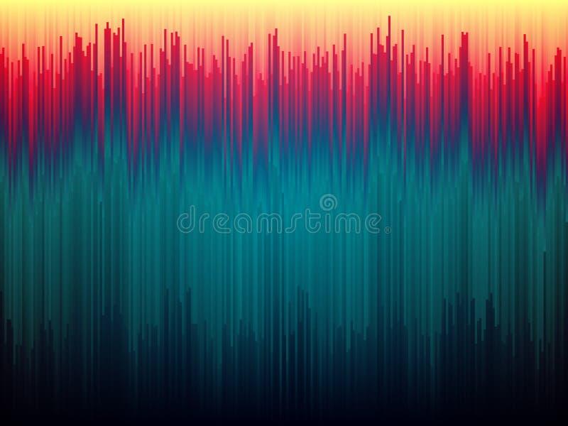 Fondo de la interferencia Distorsión de los datos de imagen Líneas abstractas concepto del color Rayas verticales de Glitched For ilustración del vector