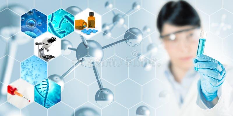 Fondo de la investigación de la microbiología ilustración del vector