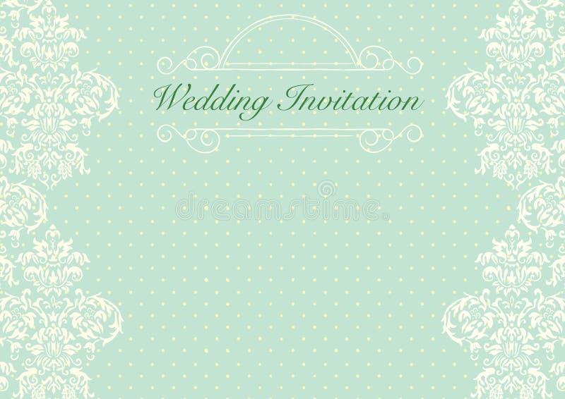 Fondo de la invitación de la boda del verde menta stock de ilustración