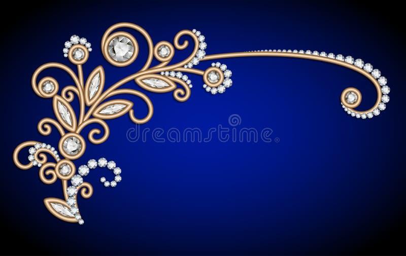 Fondo de la joyería con la puntilla del oro del diamante libre illustration