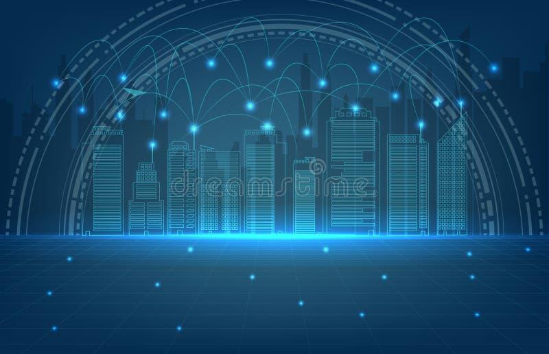 Fondo de la línea de la ciudad y de la conexión, conexión de la tecnología stock de ilustración